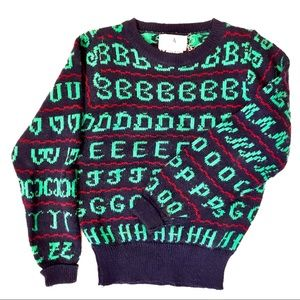 Vintage 60s Holiday Sweater Alphabet Letters